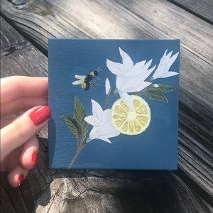 Lemon Bee mini painting